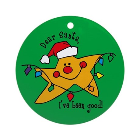 Dear Santa Star Christmas Ornament (Round)