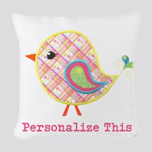 Personalized Baby Bird Woven Throw Pillow