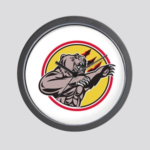California Grizzly Bear Swiping Paw Circle Retro W