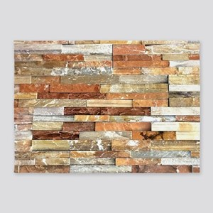 orange stone brick mosaic 5'x7'Area Rug