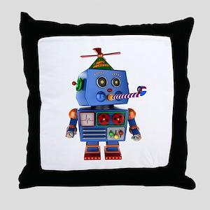Blue birthday party toy robot Throw Pillow