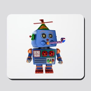 Blue birthday party toy robot Mousepad
