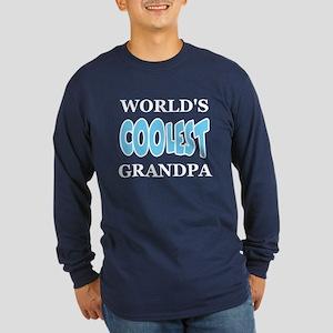 World's Coolest Grandpa Long Sleeve Navy T-Shirt