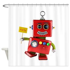 Tin Robot Shower Curtains