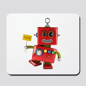 Dancing red toy robot with party sign Mousepad
