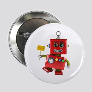 """Dancing red toy robot with party sign 2.25"""" Button"""