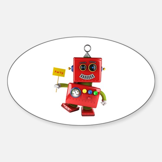 Dancing red toy robot with party sign Decal