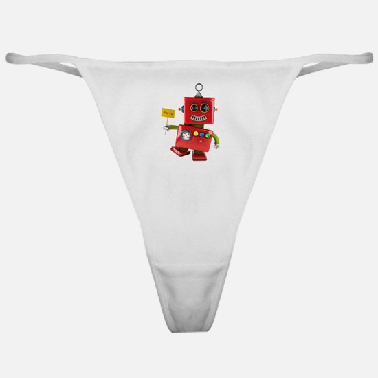 Dancing red toy robot with party sig Classic Thong