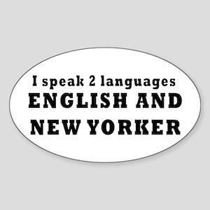 New York Language Oval Sticker