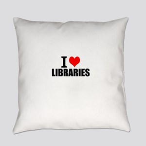 I Love Libraries Everyday Pillow