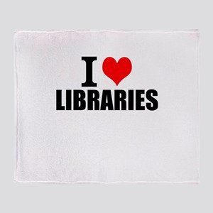 I Love Libraries Throw Blanket