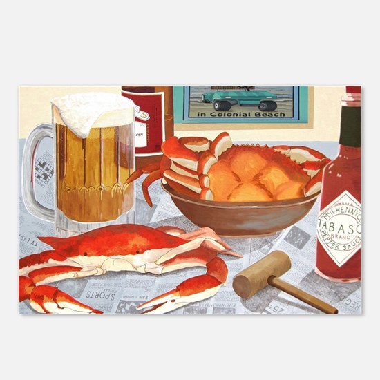 Funny Crab art Postcards (Package of 8)
