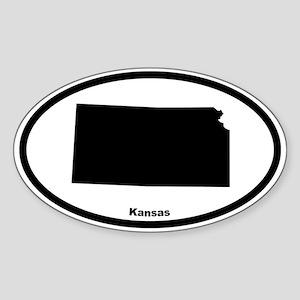Kansas State Outline Oval Sticker