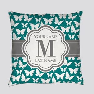 Teal and Gray Butterfly Pattern, C Everyday Pillow