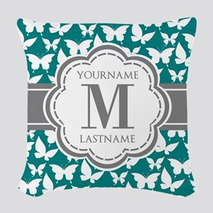 Teal and Gray Butterfly Patter Woven Throw Pillow