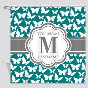 Teal and Gray Butterfly Pattern, Cu Shower Curtain