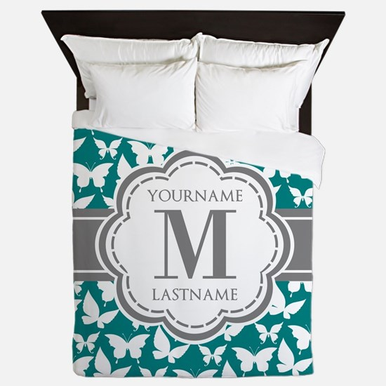 Teal and Gray Butterfly Pattern, Custo Queen Duvet