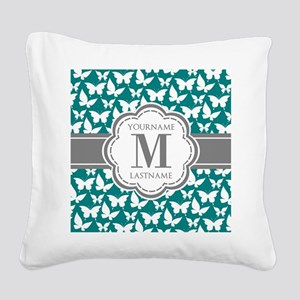 Teal and Gray Butterfly Patte Square Canvas Pillow