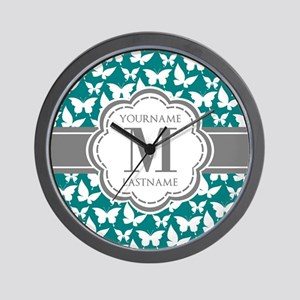 Teal and Gray Butterfly Pattern, Custom Wall Clock