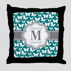 Teal and Gray Butterfly Pattern, Cust Throw Pillow