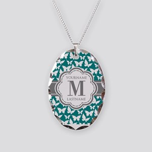 Teal and Gray Butterfly Patter Necklace Oval Charm