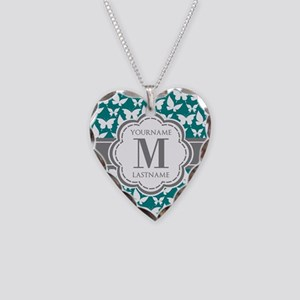 Teal and Gray Butterfly Patte Necklace Heart Charm