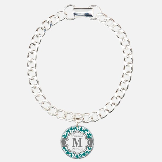 Teal and Gray Butterfly Bracelet