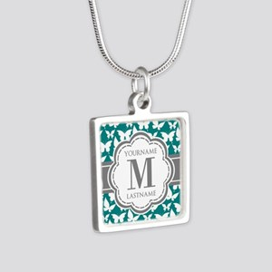Teal and Gray Butterfly Pa Silver Square Necklace