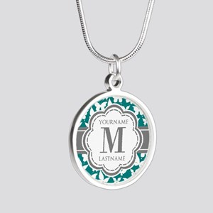 Teal and Gray Butterfly Patt Silver Round Necklace