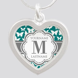 Teal and Gray Butterfly Patt Silver Heart Necklace