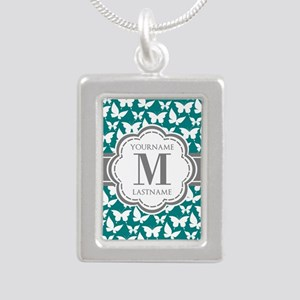 Teal and Gray Butterfly Silver Portrait Necklace