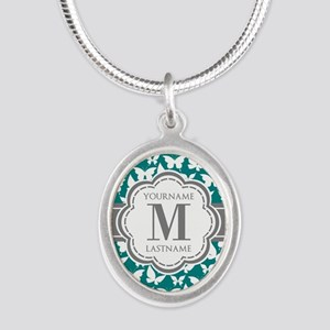 Teal and Gray Butterfly Patte Silver Oval Necklace