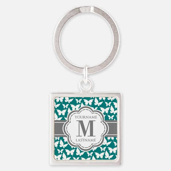 Teal and Gray Butterfly Pattern, C Square Keychain