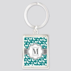 Teal and Gray Butterfly Pattern, Portrait Keychain