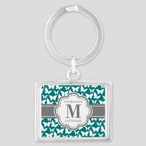 Teal and Gray Butterfly Pattern Landscape Keychain