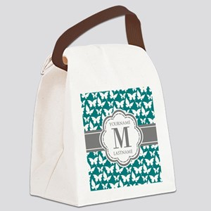 Teal and Gray Butterfly Pattern, Canvas Lunch Bag