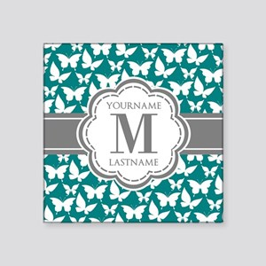 """Teal and Gray Butterfly Pat Square Sticker 3"""" x 3"""""""