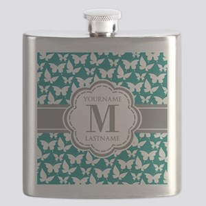 Teal and Gray Butterfly Pattern, Custom Mono Flask