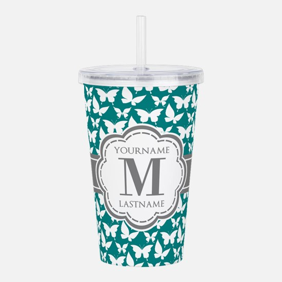 Teal and Gray Butterfl Acrylic Double-wall Tumbler