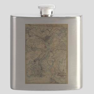 Vintage Savannah Georgia Civil War Map (1864 Flask