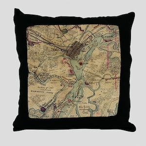 Vintage Savannah Georgia Civil War Ma Throw Pillow