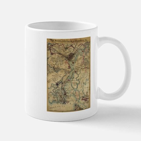 Vintage Savannah Georgia Civil War Map (1864) Mugs