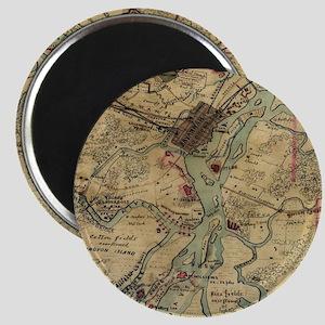Vintage Savannah Georgia Civil War Map (18 Magnets