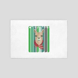Vintage Retro Funny Christmas Llama Hi 4' x 6' Rug
