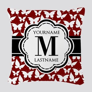 Red and Black Butterflies Cust Woven Throw Pillow