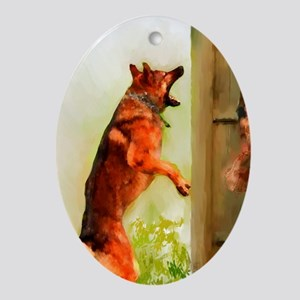 German Shepherd Protect 2 Oval Ornament