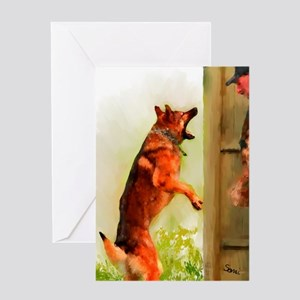 German Shepherd Protect 2 Greeting Card