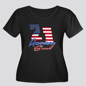 21 Ameri Women's Plus Size Scoop Neck Dark T-Shirt