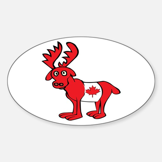 Adorable Canadian Moose Oval Decal