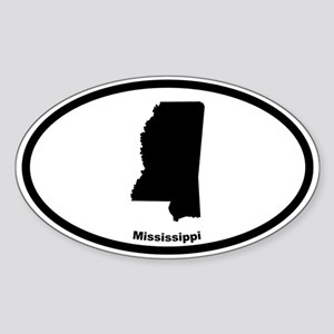 Mississippi State Outline Oval Sticker